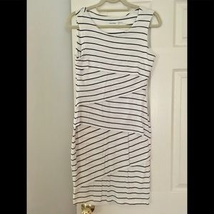 Calvin Klein layered dress white navy striped 4